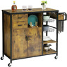 Storage Kitchen Island Cart on Wheels Serving Cart W/ Drawers Towel Rack Basket