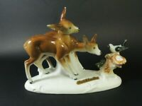 GERMANY Bad Schandau- Roe Deer w/Bird Porcelain Figurine.Home Decor.1950's