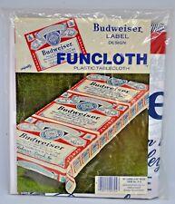 "Vintage 1980's Funcloth ~ BUDWEISER ~ Plastic Tablecloth ~ 76"" L x 42"" W ~ NEW"