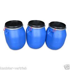 3 x 30 L Kunststofffass Deckelfass Futtertonne Gepäcktonne mit Griffmulde NEU