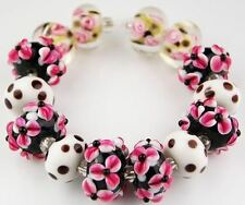 Lampwork Glass Beads Handmade Black Pink Flower Polka Dot Jewelry Making Craft