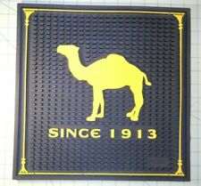 "CAMEL 12 1/2"" x 12 1/2"" BLACK YELLOW SQUARE RUBBER BAR SPILL MAT TRAY SINCE 1913"