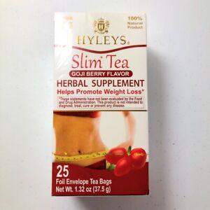 Hyleys Slim Tea 25 Tea Bags Gogi Berry Flavor Herbal Supplement Weight Loss