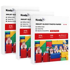 300 Sheets Koala 8.5x11 Premium Glossy 61lbs Inkjet Printer Photo Paper Epson