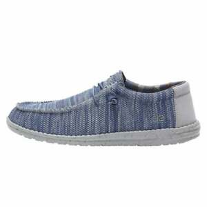 Men's Hey Dude Shoes Mens Wally Sox Blue Grey Slip On Loafer