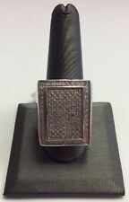 REAL STERLING SILVER Large Micro Pave Design 0.55ct Diamond RING SZ 11 / 14.1g