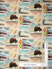 Nautical Coastline Lighthouse Scenes Cotton Fabric Springs CP71574 By The Yard