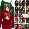Xmas Women Santa Tunic Tops Sweatshirt Jumper Pullover Christmas Shirt Blouse