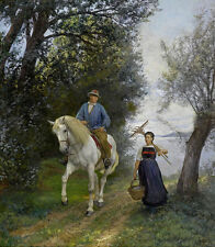 Wholesale lots oil painting  Rider and Farmer's Wife at the Lake in landscape