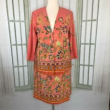 Maggie Sweet Size 1X Skirt Suit Coral Floral Peach Long Sleeve Career Business