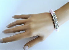 Pretty Pale Pink Glass Bead Bracelet with crystals Diamante Stretchy