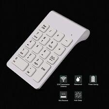 Wireless USB 18 Key White Number Pad Keyboard Numeric Silent Keypad 10 ten key