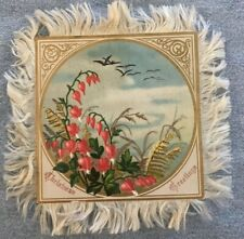 Victorian Christmas Card, Silk Fringe, Small, Flowers and Birds, Double-sided