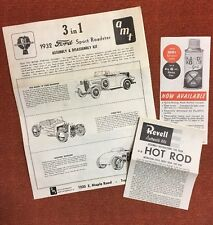 AMT 1932 Ford Roadster 3 In 1 Model Car Instructions Revell Hot Rod Sport 7024