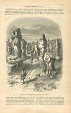 Pierre des Druides Menhirs alignement du Ménec à Carnac Morbihan GRAVURE 1847