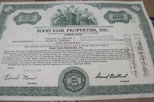 Food Fair Properties, Inc. OLD CANCELED stock CERTIFICATE 1958-60