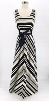 Vtg HEAR SAY Womens 1960s Black White Striped Tie Waist Maxi Dress Mid Mod Sz 8
