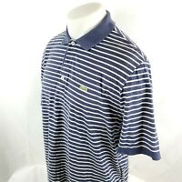 Lacoste Men Polo Shirt Sz 6 Large S/S Striped Blue White Cotton Alligator A51-14