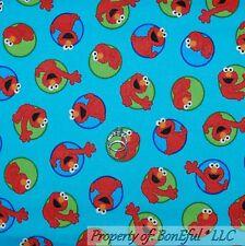 BonEful Fabric FQ Cotton Quilt VTG Blue Red Green Elmo Dot Sesame Street Baby US