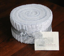 """Benartex Fabric - White Out Gray and White Tonal (40) 2.5"""" Jelly Roll Strips"""