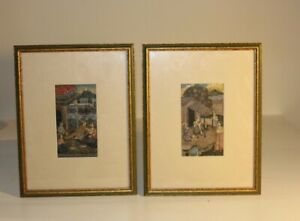 19th Century Small Scenes from India Paintings with Frame
