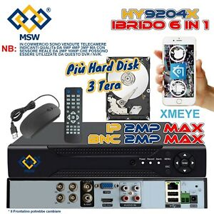 DVR 4 Canali NVR 12 Canali + HD 3 TERA UTC XVR 6 IN 1 1080P IP Onvif Cloud P2P