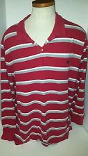 American Eagle Outfitters Shirt Long Sleeve Sz XXL Knit Polo Red Gray Stripe O5
