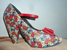 TUK floral red roses  Heels Size 9 shoes peep toe