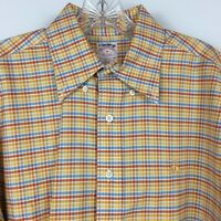 Brooks Brothers Men's Non Iron Long Sleeved Button Up Shirt Size M Orange Blue