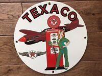 "Vintage Texaco Aviation Gasoline Heavy Porcelain Sign 12"" Gas & Oil Sign"