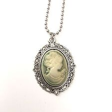 Neo-Victorian Gothic Cameo Necklace Steam-punk Woman Silver green