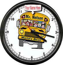 Personalized Your Name  World's Best Male School Bus Driver Gift Sign Wall Clock