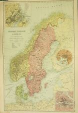 1912 LARGE ANTIQUE MAP ~ NORWAY SWEDEN & DENMARK ~ STOCKHOLM COPENHAGEN