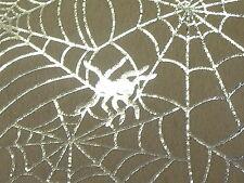 STRETCH VELOUR -SPIDERS WEB FOIL PRINT -DRESS FABRIC-1.0 METRE