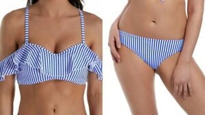 Freya Bikini Set Totally Stripe Bardot 32E S Blue White Strapless Bra Swim Brief