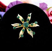 Green Rhinestone Star Flower Pin Vintage Delicate Lightweight Brooch Goldtone