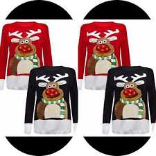 Ladies Unisex women  Xmas Special 3D Rudolph Nose Jumper With LED Flashing Light