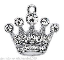 10PCS Wholesale Lots Silver Tone Rhinestone Crown Charm Pendants 21x20mm GW