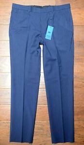 Lacoste Live HH4143 $180 Men Navy Fine Pinstriped Wool Suit Dress Pants 33 EU 42