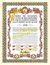 WILLY WONKA CONTRACT - Printed on Heavy Weight Diploma / Certificate Paper watch