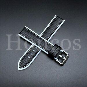 22 MM White Rubber Strap Band Replacement Black Carbon Fiber Sport US SELLER
