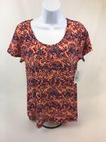 NWT LuLaRoe Women's Orange/Blue Floral Short Sleeve Classic T T-Shirt Sz XS