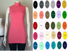 Women Cotton Spandex Sleeveless Turtleneck Tunic Top Blouses S-4XL 32 colors USA