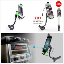 Portable 3in1 Car Truck Handfree 360° Rotable Mount Phone Holder 3.1A USB FM Kit