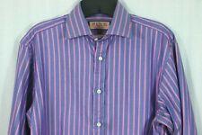 PINK Thomas Pink Prestige Dress Shirt 15 Pink Purple Stripe Long Cuff Cotton