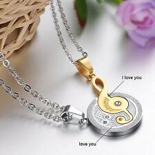 aa8b227136 Fashion Stainless steel Puzzle Music Note love for him and her necklace