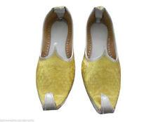 Men Shoes Indian Handmade Leather Flat Yellow Loafers Khussa Mojari UK 8.5 EU 42