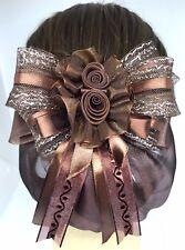 Beautiful Brown 2 Fabric Rose Cute Bow Ribbon Hair Clip Snood Net Bun Cover