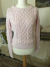 American Retro Pink  Knitted Aran Women's Sweater,size M,Pre-Owned