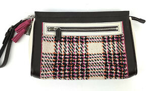 Coach Legacy Colorblock Wool Plaid Clutch Pink Brown Leather Large Wristlet Rare